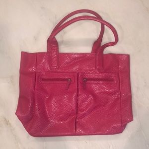 Neiman Marcus Pink Faux Snakeskin Tote